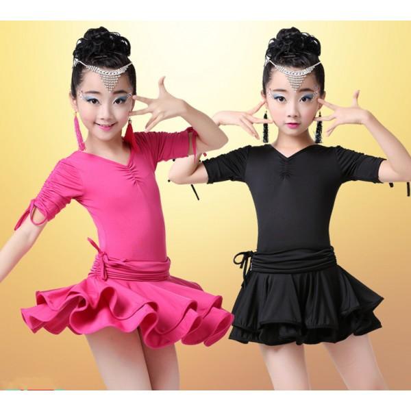 ec8272a45 Fuchsia hot pink black short sleeves leotards spandex girls kids ...
