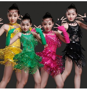 Fuchsia hot pink black yellow green sequins fringes tassels backless girls kids children stage performance latin dance dresses outfits costumes