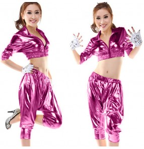 Fuchsia hot pink gold silver black leather fashion glitter sexy women's girls hi hop jazz performance cos play singer dance costumes outfits