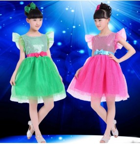Fuchsia hot pink green sequined girls kids child children kindergarten modern dance princess jazz dance show school play performance dresses with sahes