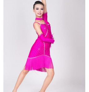 Fuchsia hot pink neon yellow red rhinestones  fringes one shoulder girls kids children competition performance professional latin dance dresses