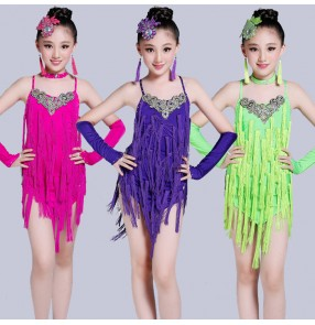 Fuchsia hot pink purple violet neon green Royal blue backless rhinestones fringes tassels girls kids children performance latin professional salsa dance dresses costumes outfits