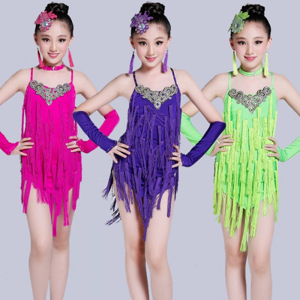 ... purple violet neon green Royal blue backless rhinestones fringes  tassels girls kids children performance latin professional salsa dance  dresses costumes ... 5d03f031a769
