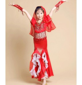 Fuchsia hot pink red  yellow gold girls kid child chilren belly dance Indian dance Egypt dance costumes sets