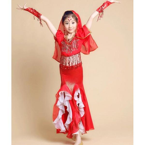 2de1cd661cca Fuchsia hot pink red yellow gold girls kid child chilren belly dance ...