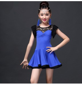 Fuchsia hot pink royal blue lace patchwork girls kids children performance competition professional short sleeves latin salsa cha cha dance dresses