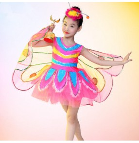 Fuchsia hot pink royal blue neon green rainbow colored girls kids child toddlers cartoon animal  buttlefly wing cos play performance modern dance jazz dance costumes dresses