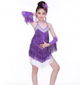 a0949c20 Fuchsia hot pink royal blue purple violet fringes sequined backless girls  kids children competition performance latin