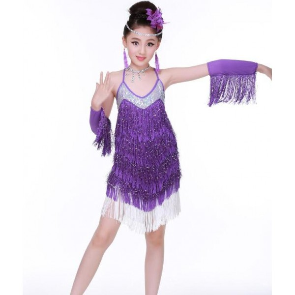 Fuchsia hot pink royal blue purple violet fringes sequined backless girls  kids children competition performance latin salsa cha cha dance dresses 9a490e1a2d96