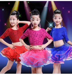 Fuchsia hot pink royal blue red lace rhinestones girls kids children baby school play stage ballroom gymnastics performance competition latin salsa ballroom dance dresses with ruffles skirts outfits