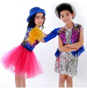 Fuchsia hot pink sequined boys girls kids children toddlers modern jazz dance ds stage performance school t show dance outfits costumes