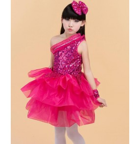 Fuchsia hot pink sequined violet purple girls kids child children one shoulder modern dance stage performance jazz dance costumes outfits