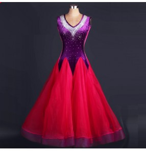 Fuchsia hot pink violet patchwork rhinestones sleeveless v neck velvet  backless competition performance long length ballroom dance dresses outifts