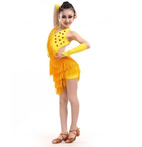 Fuchsia hot pink white black  royal blue yellow turquoise sequined fringes girls kids children performance competition latin salsa  dance dresses