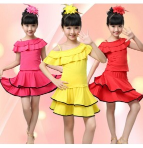 Fuchsia hot pink yellow girls kids children performance competition gymnastics latin salsa cha cha dance dresses