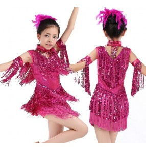 Fuchsia hot pink yellow gold turquoise blue black red sequins fringes tassels girls kids children performance competition school play latin salsa cha cha ballroom dance dresses outfits