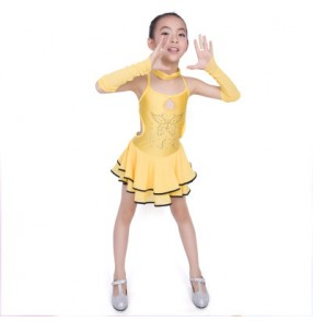 Fuchsia hot pink yellow red blue backless sleeveless girls kids children baby latin salsa school performance dance dancing dresses outfits