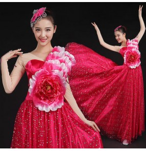 Fuchsia hot pink yellow red sequins petal long sleeves chorus opening dance v neck full skirted competition performance flamenco ballroom modern dance dresses outfits