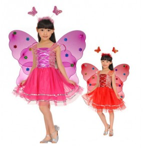 Fuchsia red violet purple yellow white pink hot pink girls kids child fairy butterfly  wing school play princess party cos play stage Sparklers performance modern dance dresses outfits