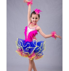 Fuchsia royal blue feather patchwork sequined backless competition professional performance  girls kids children latin dance dresses