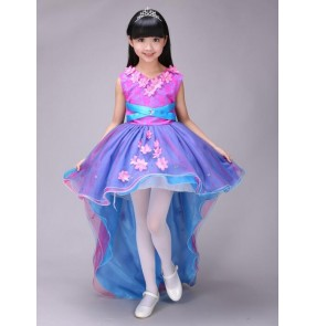 Fuchsia royal blue patchwork flowers girls modern dance stage performance princess jazz dance with trail costumes dresses