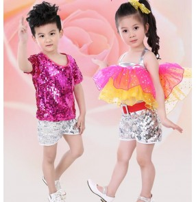 Fuchsia silver sequined paillette boys girls child children modern dance jazz dance t show school play hip hop dance costumes