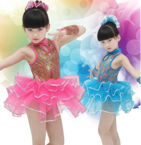 Fuchsia turquoise gold printed sleeveless girls kids children kindergarten modern stage performance jazz dance school play outfits dresses costumes