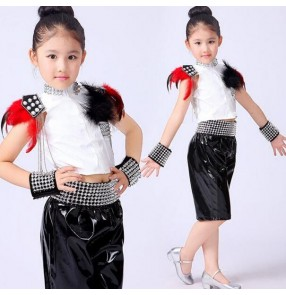 Girls black white child children rivet modern dance school play show stage performance dance hip hop outfits costumes
