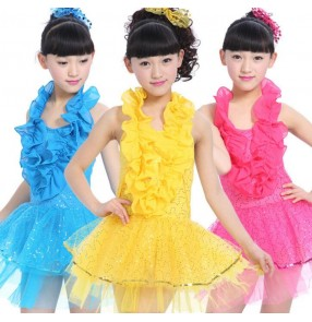 Girls child children kids baby turquoise gold yellow white fuchsia sleeveless halter ruffles modern dance latin dance dresses salsa cha cha dance dresses