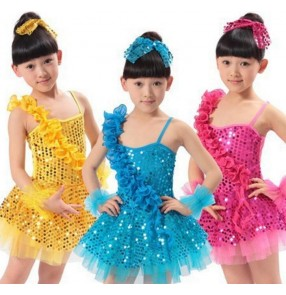 Girls child kids children baby sky blue fuchsia gold yellow paillette sequined one shoulder backless latin modern dance stage performance dresses jazz dance costumes