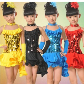 Girls children kids sequined blue yellow red black with tail backless exercise latin dance dress salsa dance dress 110-160cm