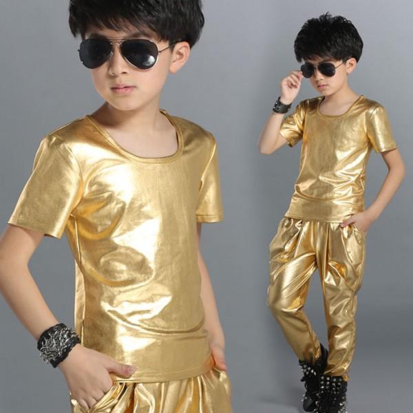 Christmas wedding dress xxl - Gold Black Leather Short Sleeves Fashion Boys Kids Children