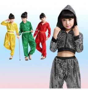 Gold black patchwork boys kid children girls school play fashion stage performance hip hop jazz cos play singer dance costumes outfits