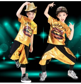 Gold black patchwork girls kids children boys stage performance school play harem pants hip hop dance jazz dance costumes outfits