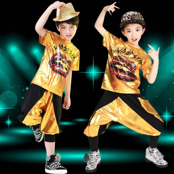 4af2a9e84 Gold black patchwork girls kids children boys stage performance school play  harem pants hip hop dance jazz dance costumes outfits