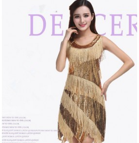 Gold black sequins fringes sleeveless tank competition performance latin salsa cha cha dance dresses outfits