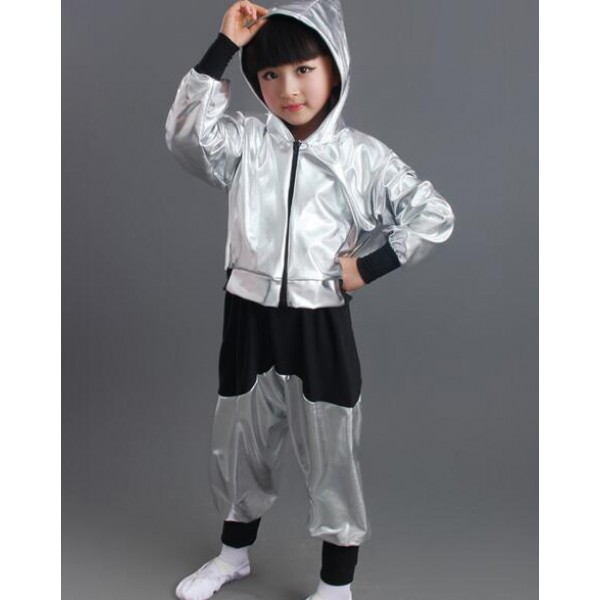 54cc7369b Gold black silver patchwork girls kids child children boys school play modern  dance stage performance school jazz dance hip hop dance outfits costumes