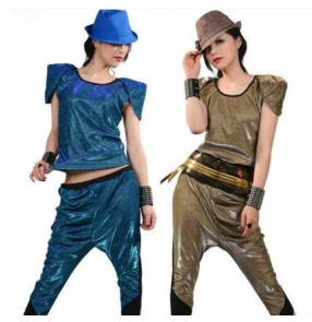 Gold blue black patchwork women's fashion stage performance hot dance cos play hip hop singer dj ds jazz dance costumes outfits