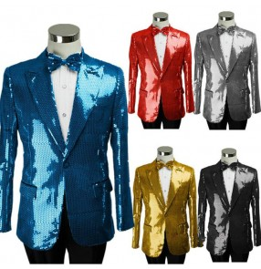 Gold blue turquoise red black silver white sequins paillette long sleeves men's man male singer stage performance wedding party cos play jazz dance blazers coat tops