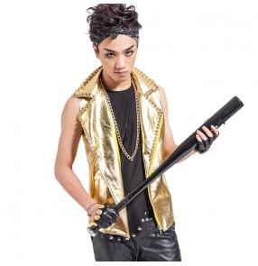 Gold pu leather lapel rivet men's male mans hip hop fashion performance jazz punk rock singer drummer club bar dancing waistcoat  vest coat