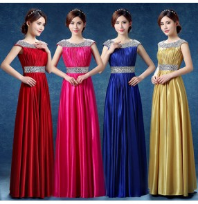 Gold royal blue fuchsia hot pink red satin women's ladies formal A line sequins  celebration occasion maxi bridal bride wedding evening party dresses