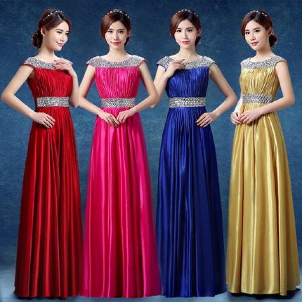 Gold Royal Blue Fuchsia Hot Pink Red Satin Womens Ladies Formal A