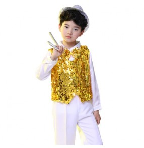 Gold royal blue red sequined boys kids child children kindergarten school play show modern dance jazz dance hip hop dance costumes outfits