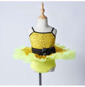 Gold sequins paillette with bowknot patchwork sleeveless girls kids children stage performance leotards tutu skirt ballet dance costumes outfits dresses