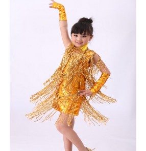 Gold silver black red sequins fringes girls kids children leather performance jazz latin salsa cha cha school play competition dance dresses vestidos