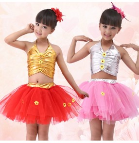 Gold  silver pu leather top  tulle tutu skirt girls kids child children toddlers modern dance jazz dance school play performance outfits costumes