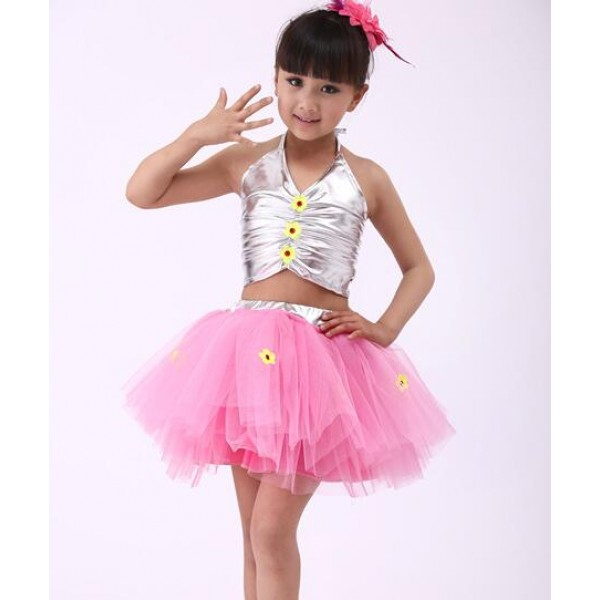 Gold Silver Pu Leather Top Tulle Tutu Skirt Girls Kids Child Children Toddlers Modern Dance Jazz School Play Performance Outfits Costumes