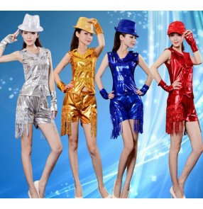 Gold silver royal blue red  sequined fringe women's ladies female modern stage performance  dance jazz dance costumes sets
