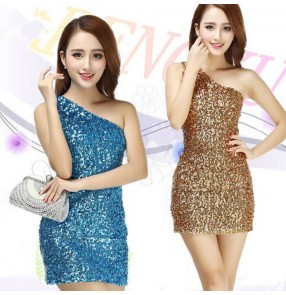 Gold turquoise royal blue silver one shoulder sleeves sequins performance competition jazz dance hip hop women's ladies female jazz dance costumes dresses outfits
