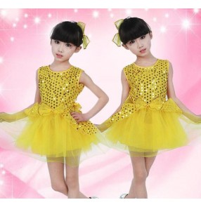 Gold yellow hot pink fuchsia sequined sleeveless bowknot  girls kids child children modern dance jazz dance school play show performance outfits dresses